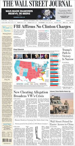 Voorpagina The Wall Street Journal 7 november 2016