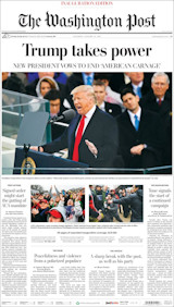 Voorpagina van The Washington Post, za 21 januari